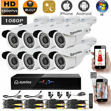 Eyedea 8CH 5500TVL DVR 1080P Bullet White Waterproof CCTV Security Camera System