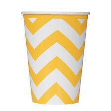 6 Sunflower Yellow White Chevron ZigZag Birthday Party 12oz Paper Cups