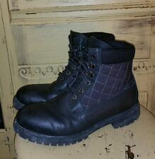 TIMBERLAND BLACK LEATHER WORK BOOTS BIKER MOTORCYCLE 9.5 M MOTO QUILTED USA