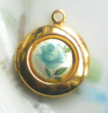 #1479F Vintage Locket charm Pendant Limoges Floral Tiny Round Gold Plated Girl