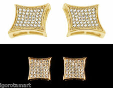 Large Pair Man's Mens Piercing Iced Bling Square Ear Earring Stud Studs Jewelry