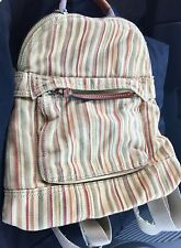 Small FOSSIL Multi-Color Striped Cotton Canvas BACKPACK Handbag w Leather Detail