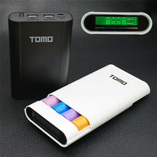 TOMO Portable LED 4 Bays 18650 Battery Power Bank DIY Charger Dual USB Output