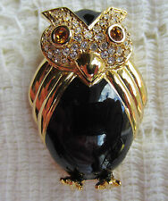 VINTAGE STYLE JOAN RIVERS BLACK OWL CRYSTALS GOLD TONE BIRD BROOCH PIN JEWELRY