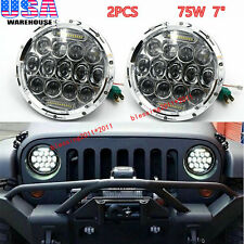 "For JEEP Wrangler JK 7"" 75W LED Headlights H4 H13 Chrome DRL High Low Beam 2PCS"