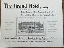 Antique 1903 Print THE GRAND HOTEL JERSEY CHANNEL ISLANDS Advertisement Advert