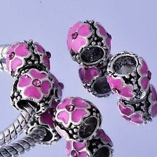 5Pcs Silver Enamel Charms BEADS pink crystal For European Bracelet Jewelry