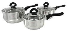 Induction Buckingham en acier inoxydable 3 PC casserole pan pot set casserole en acier