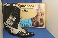 Prime Boots  cowboystiefel westernstiefel schwarz weiss leder handmade  gr. 41