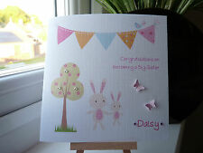 Cute Handmade Personalised New Baby Big Sister or Brother  Card