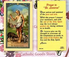 St Lazarus with - prayer to St Lazarus - Laminated  Holy Card