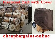 FIREWOOD HAND TROLLEY WITH COVER FIREWOOD CART FIREPLACE WOOD CART LOG SPLITTER