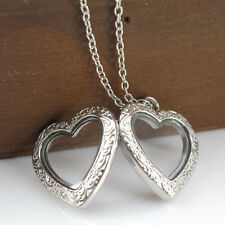 Vintage JewelryWomen Hollow Heart Locket Frame Floating Pendents Chain Necklaces