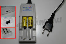 2 PILES ACCUS RECHARGEABLE CR123A 16340 3.7V 2500mAh + CHARGEUR TR-001 TRUSTFIRE