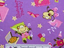 Slumber Party Monkeys Monkey Toss Lavender Cotton Flannel Fabric   BTY  (J5) #