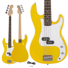 New Glarry Musicians Electric P Style Bass Guitar + Cord + Wrench Tool Yellow