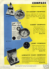 1956 PAPER AD 2 Sided Cocky Compass Toy Game Army Five A Cross Board Game