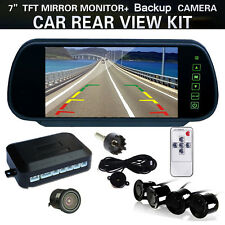 "7"" TFT-LCD Rear view Mirror Monitor Car Reverse Camera Radar + 4 Parking Sensors"