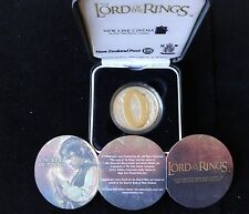 2003 SILVER PROOF GOLD PLATING NZ $1 COIN BOX + COA LORD OF THE RINGS ONE RING