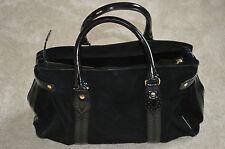 LK Bennett Black Patent Leather Suede Womens Shoulder Tote Side Zip Handbag