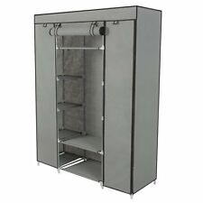 53' Gray SKY1716 Portable Closet Org Storage Wardrobe-Clothes Rack with Shelves