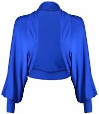 New Ladies Batwing Shrug Long Sleeve Womens Jersey Bolero Cardigan Top Size 8-26