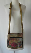 Anna by Anuschka Crossbody/Shoulder Bag Hand Painted Organizer Size 9X 8.5X 1.5""