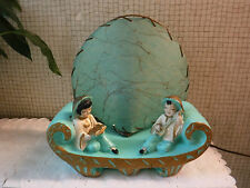 VINTAGE Chalkware Asian Characters Lamp with Fiberglass Shade- Turquoise Colors