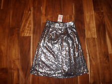 NEW Womens Banana Silver Sequin A-Line Skirt Size S Small