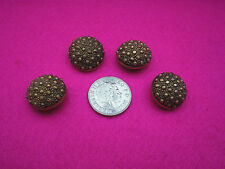 COLLECTABLE VINTAGE BUTTONS X 4 GOLD COLOURED PLASTIC/METAL BOBBLE DESIGN SHANK