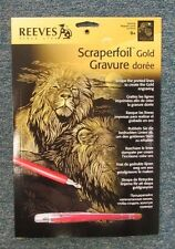 "Reeves Medium 8x10"" Gold Scraperfoil Engraving Art Craft - Majestic Lions"