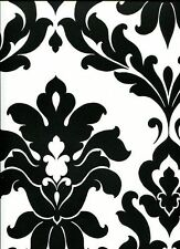 Black & White Bold Damask Large Pattern Wallpaper VG26230P