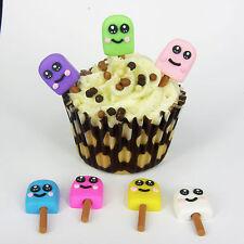 10 X Hielo Lolly Caras Plástico Cupcake Topper Tarjeta haciendo Pastel Decoración Ct3