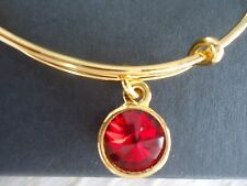 Alex and Ani January Birthstone GARNET Yellow Gold Charm Bangle NWT Card & Box