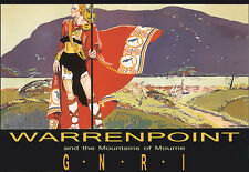 Art Poster - Warrenpoint Mountains of Mourne - GNRI Railway - Travel A3 Print