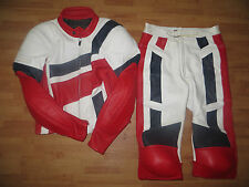 VTG FieldSheer 90s FZR CBR Men Red White Blue Leather Racing Suit Jacket Pant 38