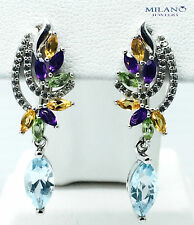 NATURAL SKY TOPAZ ,AMETHYST , CITRINE, PERIDOT STERLING SILVER 925 EARRING