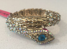 NWT rare Betsey Johnson stretch gold snake jewels bracelet