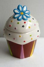 """Tii Collections Treats Candy Jar Canister Decorated Cupcake Flower 7.75"""""""