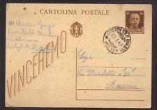 9195- Cartolina postale da Costigliole d'Asti per Ancona  28/3/1943 –  vinceremo