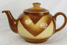 Vintage Art Deco Bunzlau Fever Fest Germany China Pottery Teapot Airbrushed (HH)