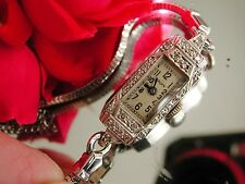 1920's Ladies Art Deco Gruen Platinum Diamond Watch ~ Serviced