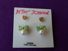 Betsey Johnson Authentic NWT Gold-Tone CZ Duo Heart & Bow Stud Earring Set