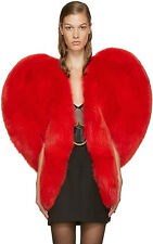 red heart Valentines heart hart coat celebrity faux fur jacket runway statement