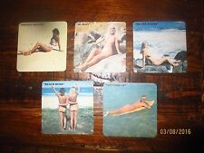 complete set of 5 NUDE Beach scenes 1990,s Issue collectable COASTERS