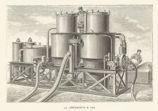 B7207 Generatore a gas - Incisione antica del 1888 - Engraving