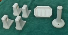 White Porcelain Wall Soap Dish, Toilet Paper Holder, Pair Towel Holders, No Rods