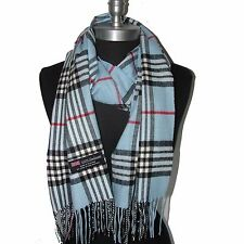 "New Fashion 100% Cashmere Scarf Li Blue Check Plaid Scotland Wool Wrap ""A05""58"