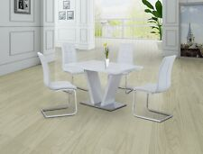 WHITE  AND CHROME HIGH GLOSS DINING SET WITH GLASS TOP & 4x WHITE CHAIRS,