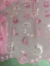 "PINK ORGANZA+NET EMBROIDERY SEQUINS LACE FABRIC 52"" WIDE 1 YARD"